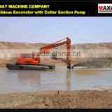 4x4 Full Drive Swamp Excavator Equipped with Dredging Cutter Suction Pump , CE , EPA , SGS, ISO , Model: MAX220SD-4