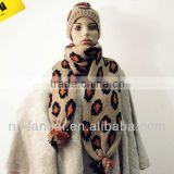 2013 fashion winter and autumn Ladies knitted leopard jacq. hat set with multi-color pom pom