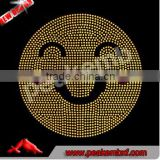 Wholesale Iron-on Rhinestone Emoji Transfer in Happy Face Hotfix Design for Children Clothes