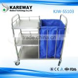 Kareway stainless steel hospital waste cart with wheels,hospital cleaning trolley