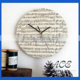 Personalized Wooden Staff Pattern Vintage Painting Wall Clock for Home Decoration Rustic Clock Movement Clock for Living Room
