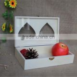 FSC carved decorative fancy wooden candy storage boxes with heart window for christmas gift