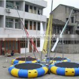Bungee jumping trampoline, round trampoline bungee for 4 persons, gymnastic trampoline