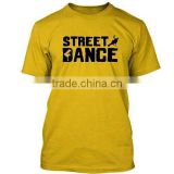Mens custom cotton yellow with black printed on front round neck short sleeves tee shirt