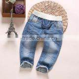 Cheap wholesale winter thick warm kids denim jeans pants new style kids girls jeans pants