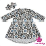 48BQA141 Lovebaby Printed Pattern Long Sleeve With Two Big Pocket Baby Casual Wear With Same Fabric Bow Frock Suit For Girls
