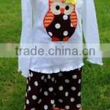 Halloween Personalized Baby Body suit baby girls owl embroidered suit baby clothes YIWU supplier