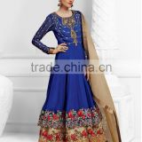 Blue color on rich embroidery rose heavy design at neck and border long Anarkali Designer Semi Stitch Salwar Kameez