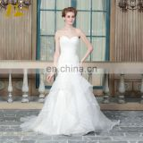 ED Simple Sleeveless Sweetheart Lace Applique Pleating Button Organza Mermaid Wedding Dress