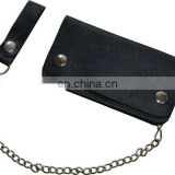 HMB-726A BIKER LEATHER WALLET CHAIN BLACK PLAIN BIFOLD