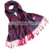 Blended with cotton&acrylic Polka Dots &Rose design pashmina shawl scarves