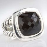 Sterling Silver DY Inspired 14mm Black Onyx Albion Ring for Women