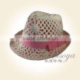 2015 young lady hat fashion woven paper hat cute white pink top hat