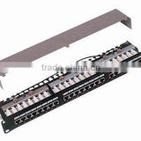 "Cat.5e/cat.6 Patch Panel 24 Port STP RJ45-RJ45 FEED THROUGH SHIELDED RACK MOUNT 19"" 1U"
