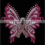 DMC Rose color Butterfly motif Rhinestone transfer For T-shirts