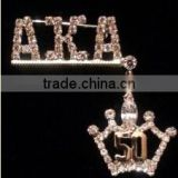 rhinestone AKA Greek letters Alpha Kappaa Alpha 50 crown lapel pin brooch jewelry