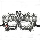 Luxury Black atistic Metal Laser Cut Venetian Mask Innovation Rhinestones