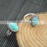 LFD-007R ~ Wholesale Druzy Amazonite With Pave Rhinestone Rings Men and Women Jewelry Finding