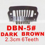 DBN-5# Retail and wholesale 23mm long Dark Brown color straight 6 teeth easy snap clips for hair extensions wigs wefts weavings