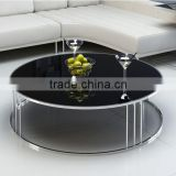 2016 Factory Supply Natural Black Round Marble Top Stainless Steel Coffee Table