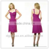 Straps Chiffon A Line Knee Length Grape Bridesmaid Gowns