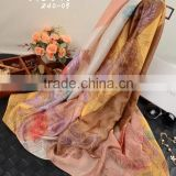 factory magic design floral printed nylon with viscose scarves and shawls ,smooth imitated silk satin feel pashmina scarf shawl                                                                                                         Supplier's Choice