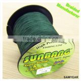 Wholesale Outdoor Fishing Tackle Japan Super Strong 100% PE Multifilament Fishing Braid Line 4PLY 20lb SUNBANG Dark Green
