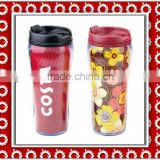 eco-friendly 16oz double wall plastic mug with paper insert