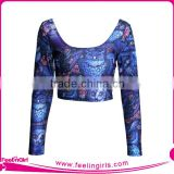 new arrival NO MOQ long sleeve crop top for womens
