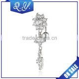 Body Chain Jewelry Silver Color Double Flower Shaped Navel Belly Jewelry China Manufacture