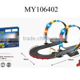 1:43 Racing slot track with a battery pack vehicle toys for kids electric car track toy 380cm Rail length