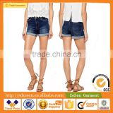 Women Apparel Slim Fit High Waistband Plait Detail Denim Shorts For Women Manufacturer Jeans