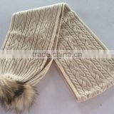 Super Good Quality Cable Machine Knitting Woman Acrylic Scarf With Faux Fur Pompoms