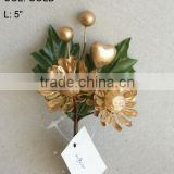 "New Artificial Christmas Gold Flower Pick 5"" Artificial Penoy Flower With Berries"
