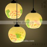 2015 Hot sale porcelain iron hanging ceramic pendant light chandelier cleaning