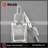 RUIJIA 15ml 30ml rectangle glass dropper bottle with childproof and tamper evident cap wholesales