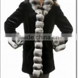 Best Quality Mink Leather Fur Coats Jackets Fur Collar. Women Winter Long Norka Mink Coat FREE SHIPPING WORLD WIDE