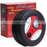 Hot sale Tire round shape small Digital tire inflator/12V Air Compressor Car Portable Tyre Inflator /Portable inflator