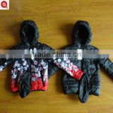 latest hand quilted puffer reversible winter printed jacket kids boys in china, biker lake girl clothing