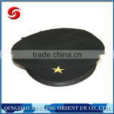 2016 Military Style Winter Hats Black Police Beret Caps with embroidery logo