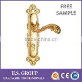 Door lever handle on plate antique brass door pull handle