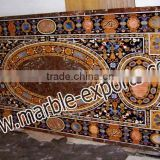 Brown Marble Inlay Dining Table Top Antique Pietra Dura Art Dining Table Top