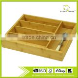 Store More 5-slot Bamboo Kitchen Utensil Drawer Organizer Tray