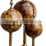 Metal & bone inlay table top globe decoration set of 3