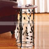 RH-4648 metal circle motif accent end table or wood top bird barrel Round sofa side table