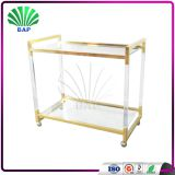 2017 New Design Gold Metal Trolley Hotel Service Cart Metal Decorative Trolley