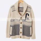 High Quality Boy's jacquard chunky knit warm cardigan with elegant shawl collar off-white sweater (BKNB01)
