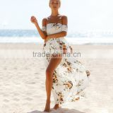 Boho style long dress women fashion Off shoulder beach summer dresses Floral print Vintage chiffon white for wholesale 2017