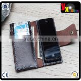 iPhone5/ Soil brown leather cellPhone wallet with case/ extra pockets/ blue wax cord stitching/art supplies kids