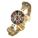 Ethnic Style Heart Shape Bracelet Vintage Alloy Bracelet Agate Red Resin Turkey Gold Plated Bracelet